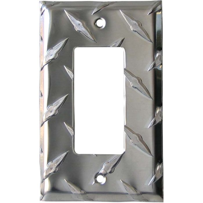 Polished Diamond Plate Tread Single 1 Gang GFCI Rocker Decora Switch Plate Cover