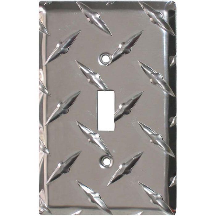 Polished Diamond Plate Tread Single 1 Toggle Light Switch Plates
