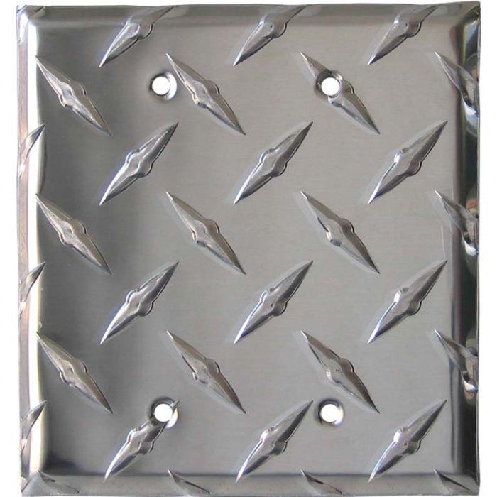 Polished Diamond Plate Tread Double Blank Wallplate Covers