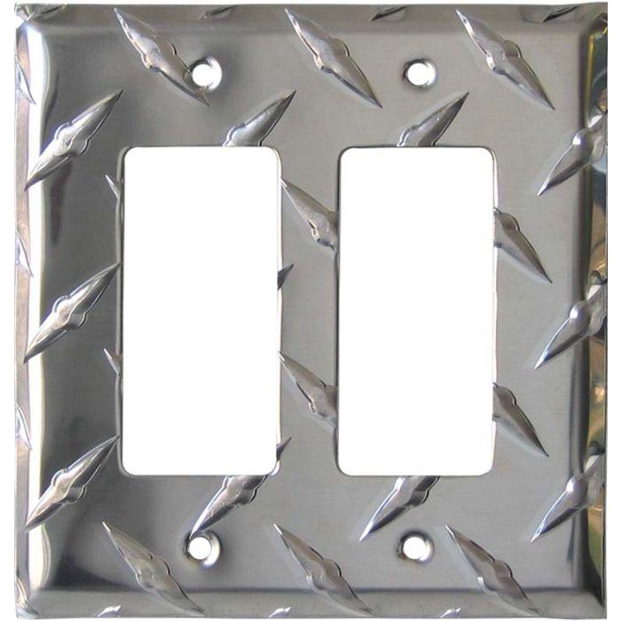 Polished Diamond Plate Tread 2 Gang Double GFCI Rocker Decorator Wallplates