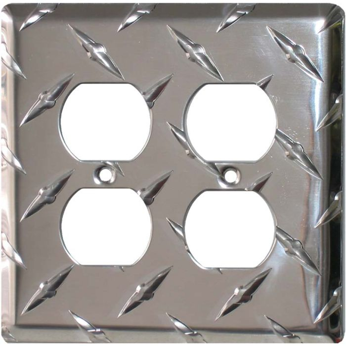 Polished Diamond Plate Tread 2 Gang Duplex Outlet Wall Plate Cover