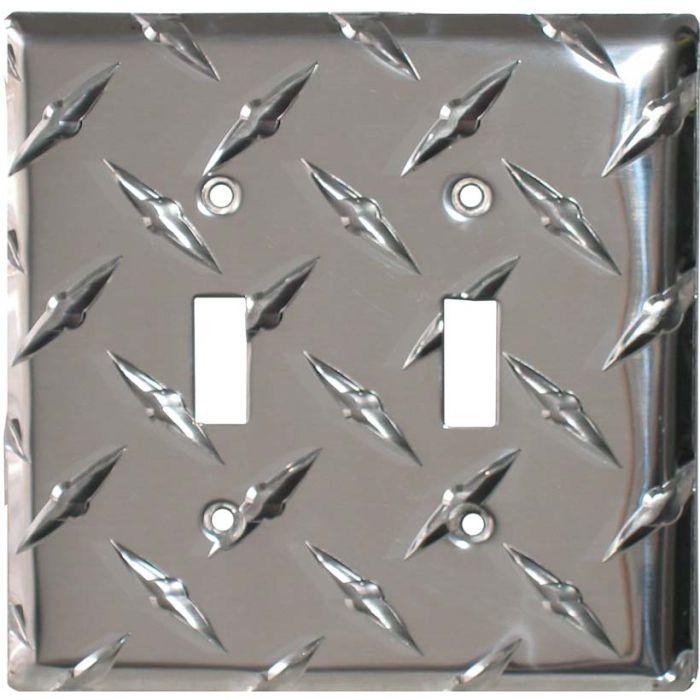 Polished Diamond Plate Tread Double 2 Toggle Switch Plate Covers