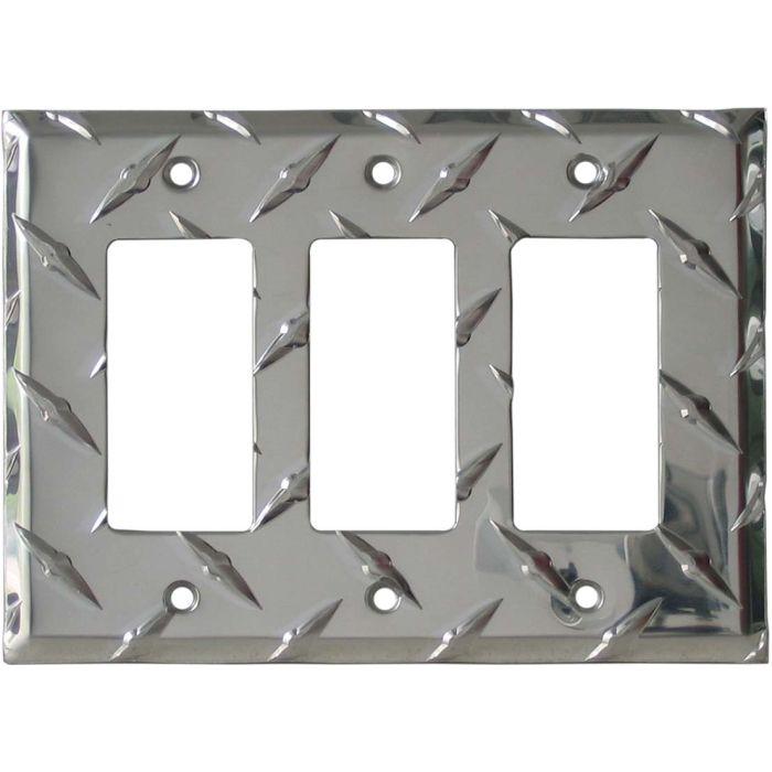 Polished Diamond Plate Tread Triple 3 Rocker GFCI Decora Light Switch Covers