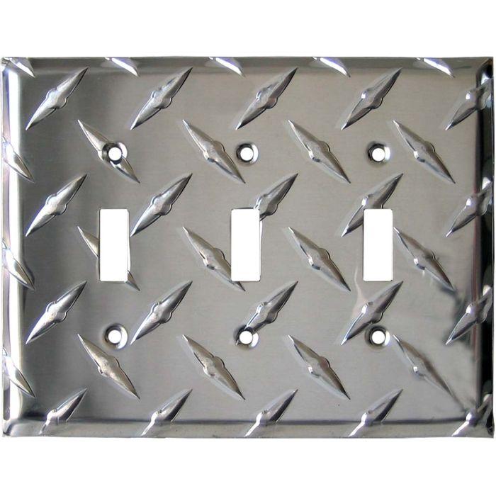 Polished Diamond Plate Tread Triple 3 Toggle Light Switch Covers