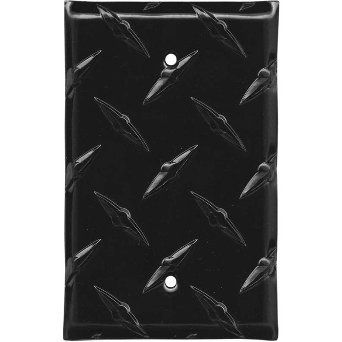 Polished Diamond Plate Tread Black Blank Wall Plate Cover