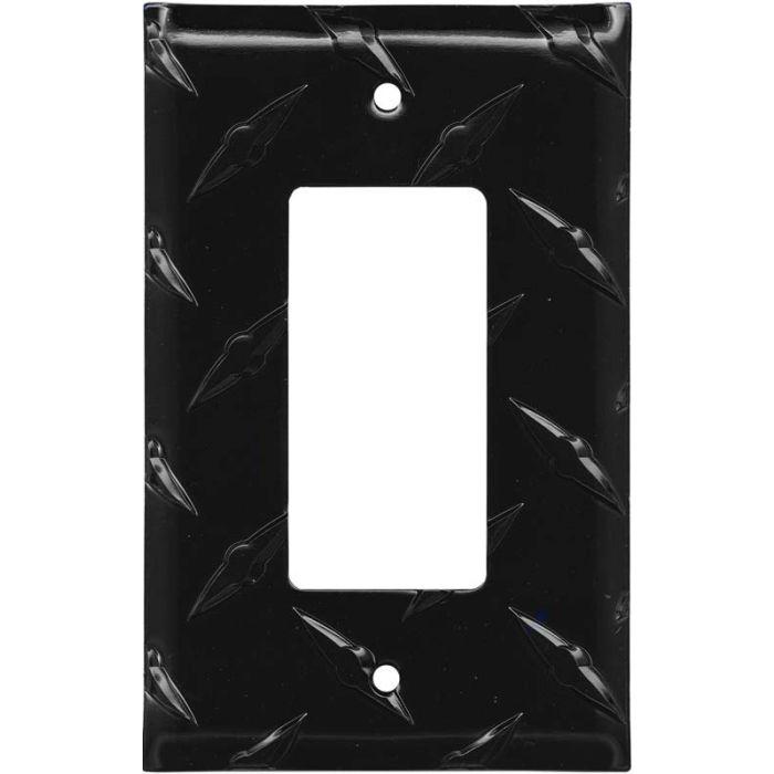 Polished Diamond Plate Tread Black Single 1 Gang GFCI Rocker Decora Switch Plate Cover