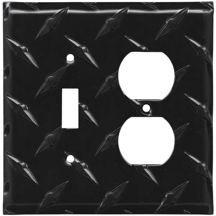 Polished Diamond Plate Tread Black Combination 1 Toggle / Outlet Cover Plates