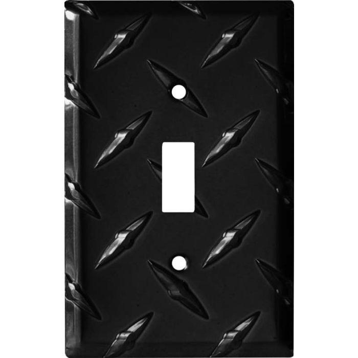 Polished Diamond Plate Tread Black Single 1 Toggle Light Switch Plates