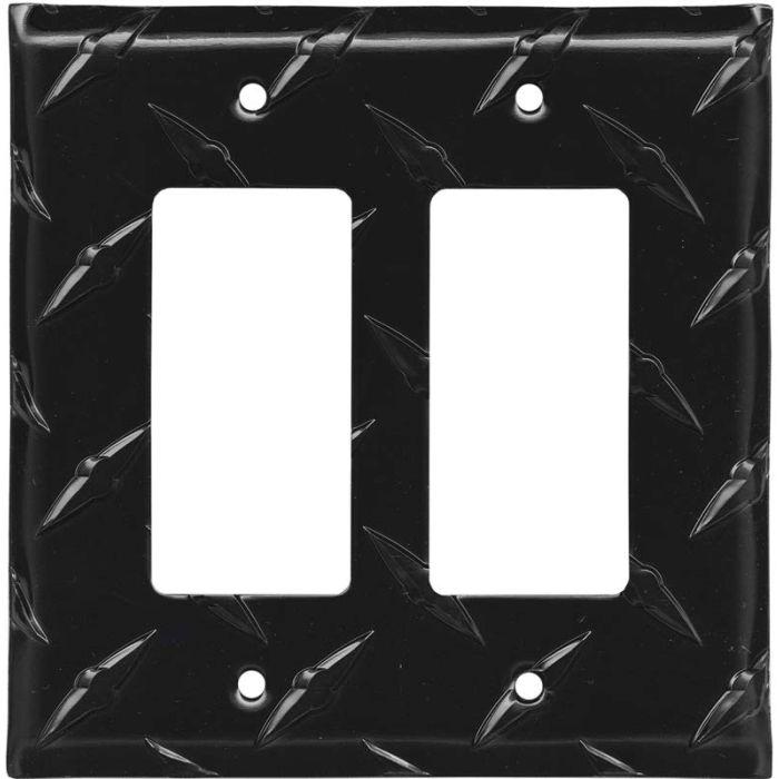Polished Diamond Plate Tread Black 2 Gang Double GFCI Rocker Decorator Wallplates