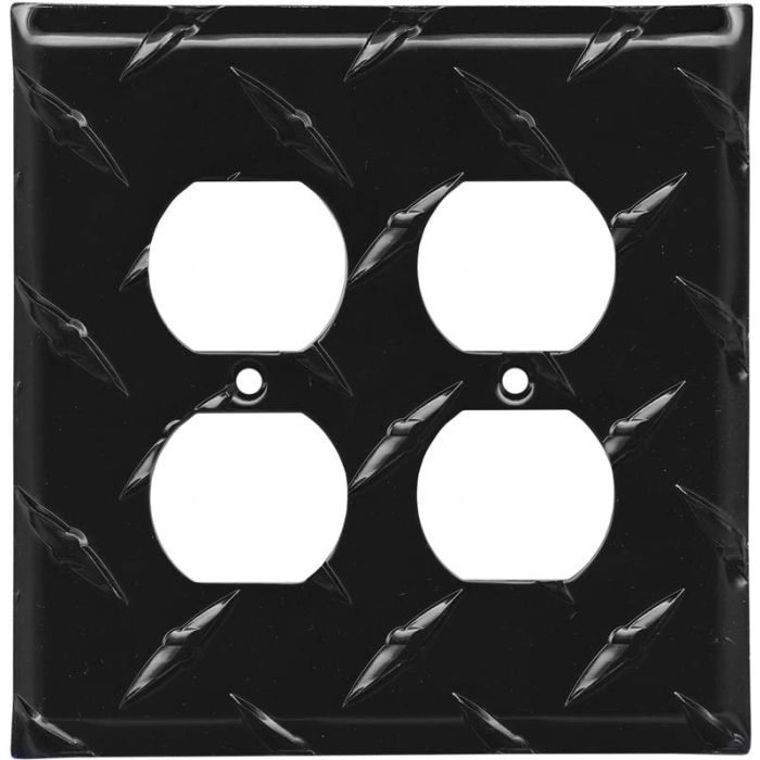 Polished Diamond Plate Tread Black 2 Gang Duplex Outlet Wall Plate Cover