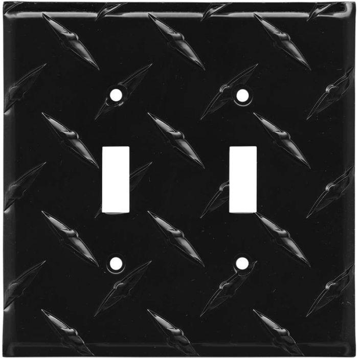 Polished Diamond Plate Tread Black Double 2 Toggle Switch Plate Covers