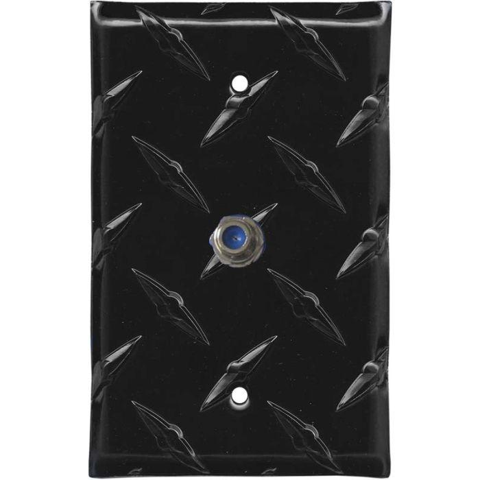 Polished Diamond Plate Tread Black Coax Cable TV Wall Plates