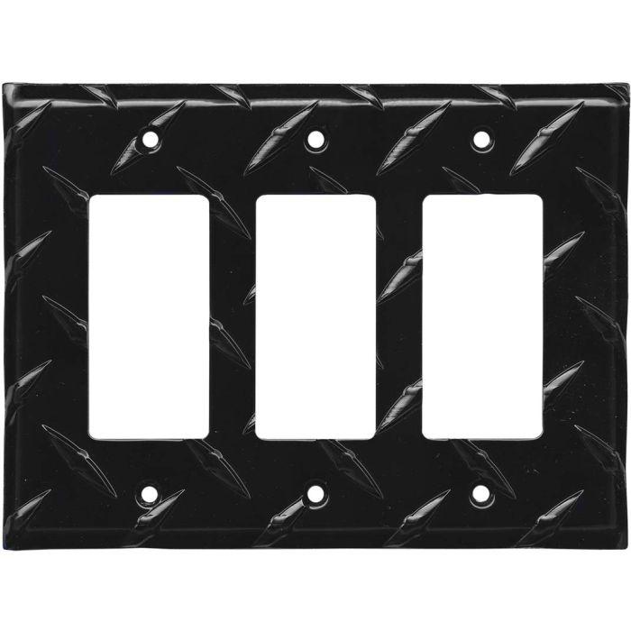 Polished Diamond Plate Tread Black Triple 3 Rocker GFCI Decora Light Switch Covers
