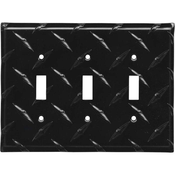 Polished Diamond Plate Tread Black Triple 3 Toggle Light Switch Covers