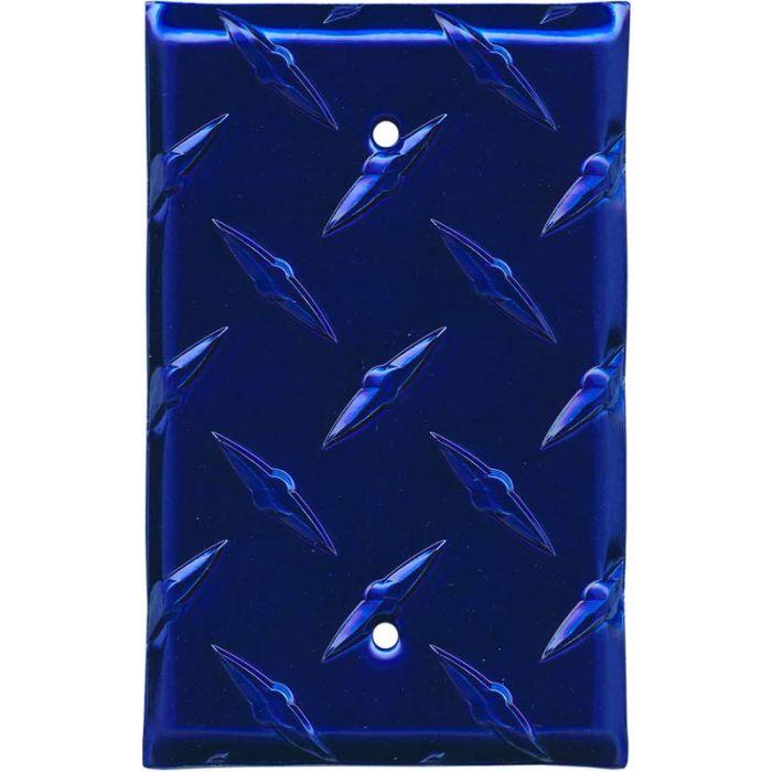 Polished Diamond Plate Tread Blue 1 Gang Blank Wall Plates