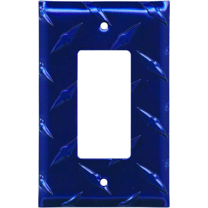 Polished Diamond Plate Tread Blue 1-Gang GFCI Decorator Rocker Switch Plate Cover