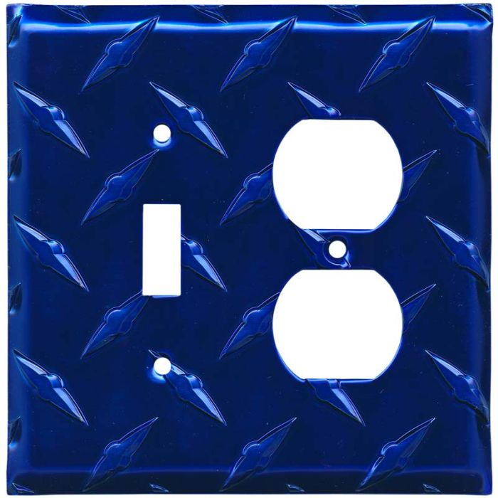 Polished Diamond Plate Tread Blue Combination 1 Toggle / Outlet Cover Plates
