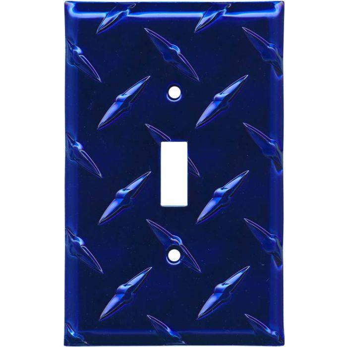 Polished Diamond Plate Tread Blue 1 Toggle Light Switch Cover