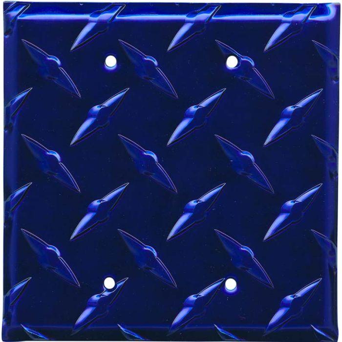 Polished Diamond Plate Tread Blue Double Blank Wallplate Covers