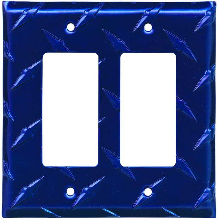 Polished Diamond Plate Tread Blue 2 Gang Decorator / GFCI Rocker Wall Plate Cover