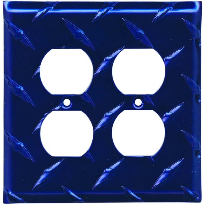 Polished Diamond Plate Tread Blue 2 Gang Duplex Outlet Wall Plate Cover