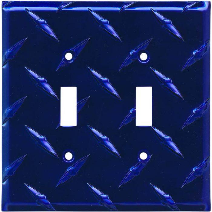 Polished Diamond Plate Tread Blue 2 Toggle Switch Plates