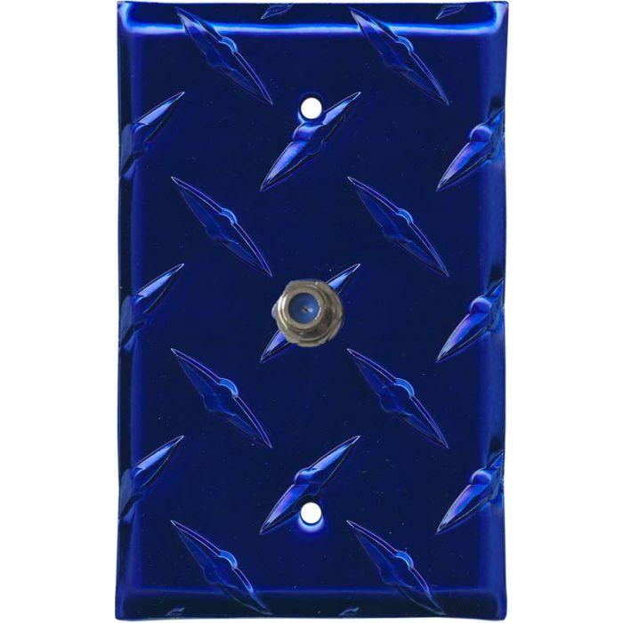 Polished Diamond Plate Tread Blue Coax Cable TV Wall Plates