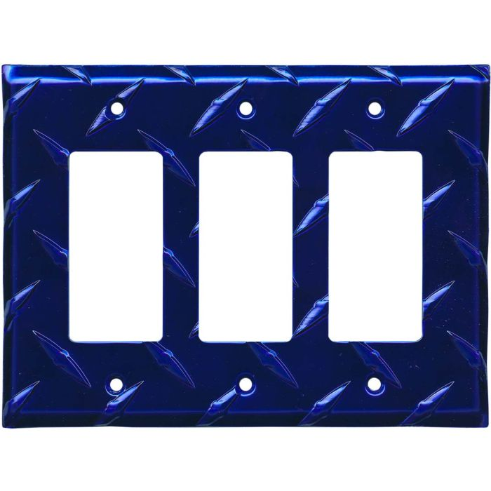 Polished Diamond Plate Tread Blue 3 - Rocker / GFCI Decora Switch Plate Cover