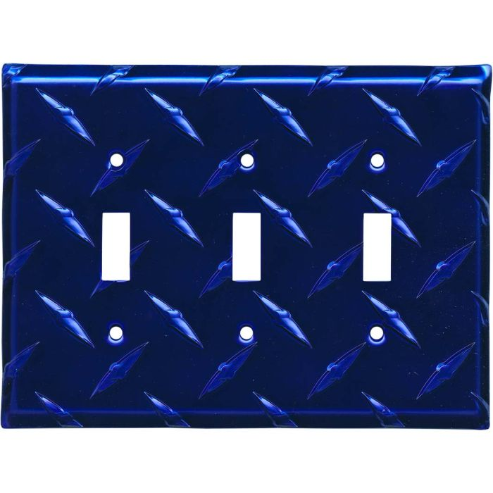 Polished Diamond Plate Tread Blue Triple 3 Toggle Light Switch Covers