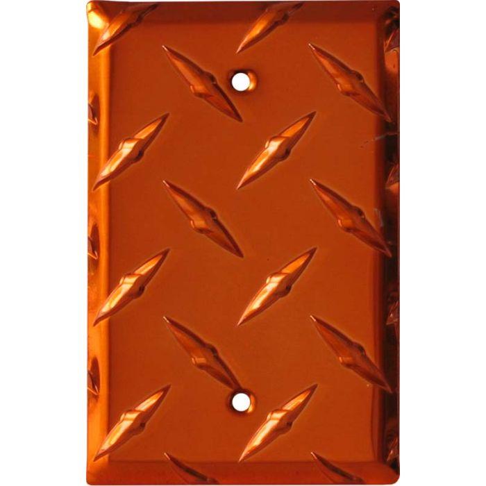 Polished Diamond Plate Tread Orange Blank Wall Plate Cover