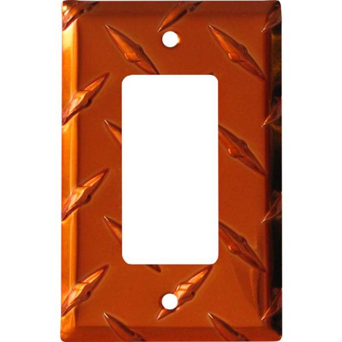 Polished Diamond Plate Tread Orange Single 1 Gang GFCI Rocker Decora Switch Plate Cover
