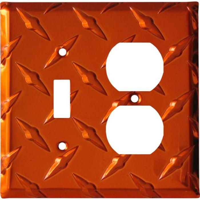 Polished Diamond Plate Tread Orange Combination 1 Toggle / Outlet Cover Plates