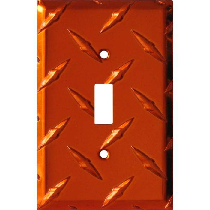 Polished Diamond Plate Tread Orange Single 1 Toggle Light Switch Plates