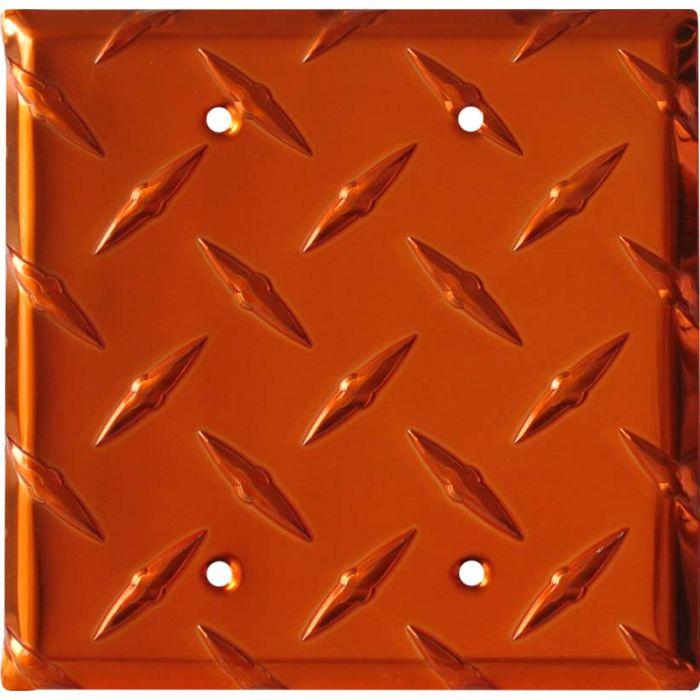 Polished Diamond Plate Tread Orange Double Blank Wallplate Covers