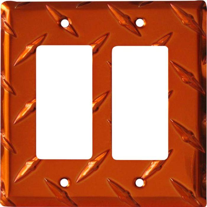 Polished Diamond Plate Tread Orange 2 Gang Double GFCI Rocker Decorator Wallplates
