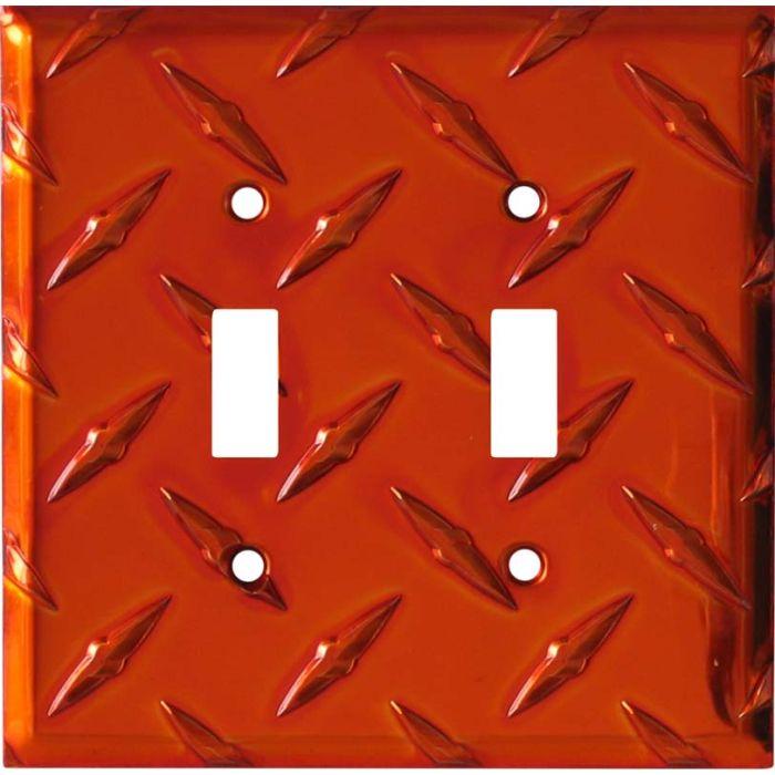 Polished Diamond Plate Tread Orange Double 2 Toggle Switch Plate Covers