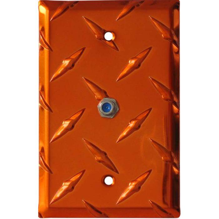 Polished Diamond Plate Tread Orange Coax Cable TV Wall Plates