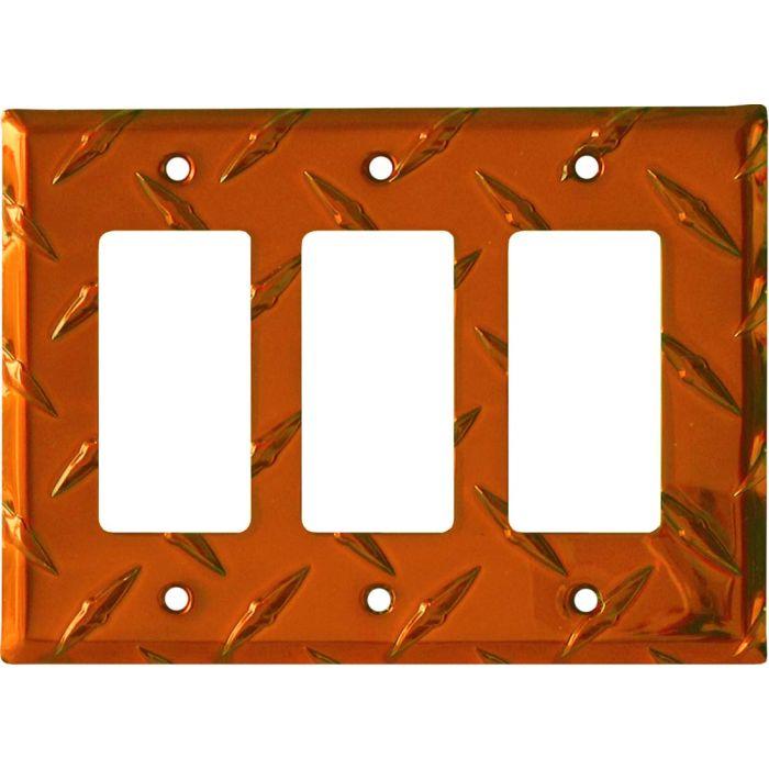 Polished Diamond Plate Tread Orange Triple 3 Rocker GFCI Decora Light Switch Covers