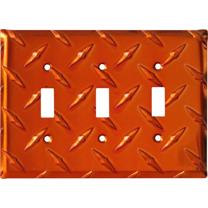 Polished Diamond Plate Tread Orange Triple 3 Toggle Light Switch Covers
