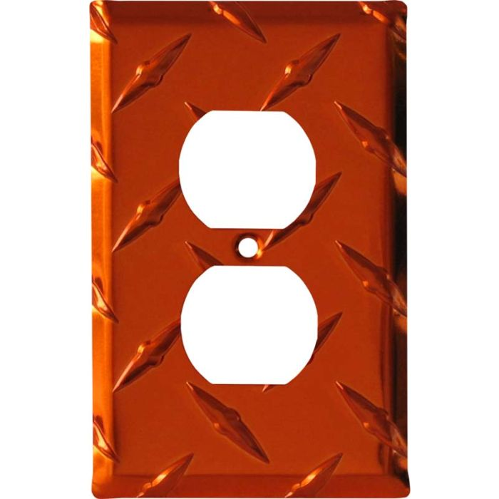 Polished Diamond Plate Tread Orange 1 Gang Duplex Outlet Cover Wall Plate