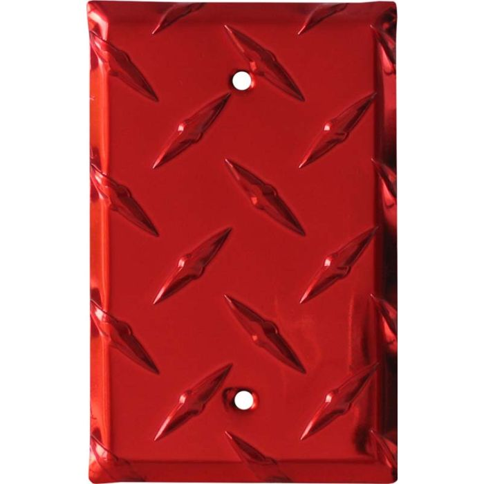Polished Diamond Plate Tread Red 1 Gang Blank Wall Plates