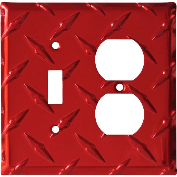 Polished Diamond Plate Tread Red Combination 1 Toggle / Outlet Cover Plates