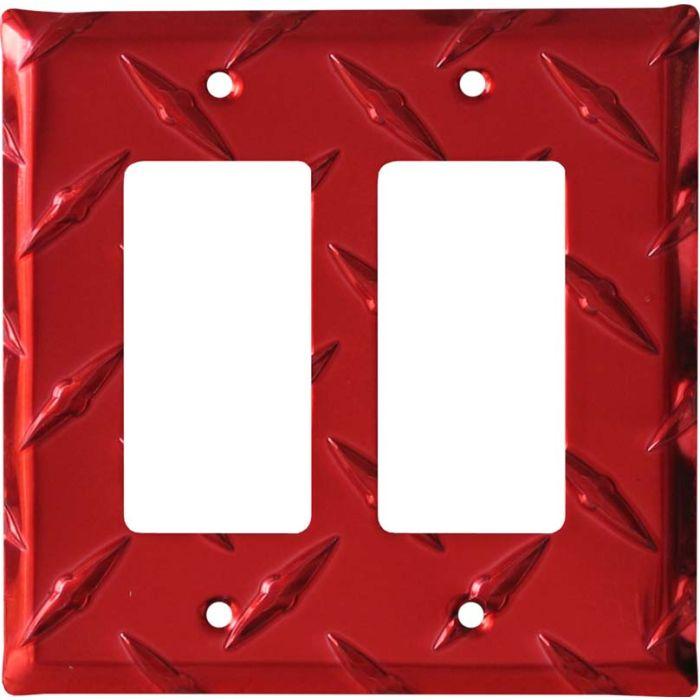 Polished Diamond Plate Tread Red 2 Gang Double GFCI Rocker Decorator Wallplates