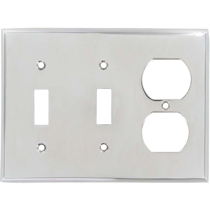 Polished Nickel Double 2 Toggle / Outlet Combination Wall Plates