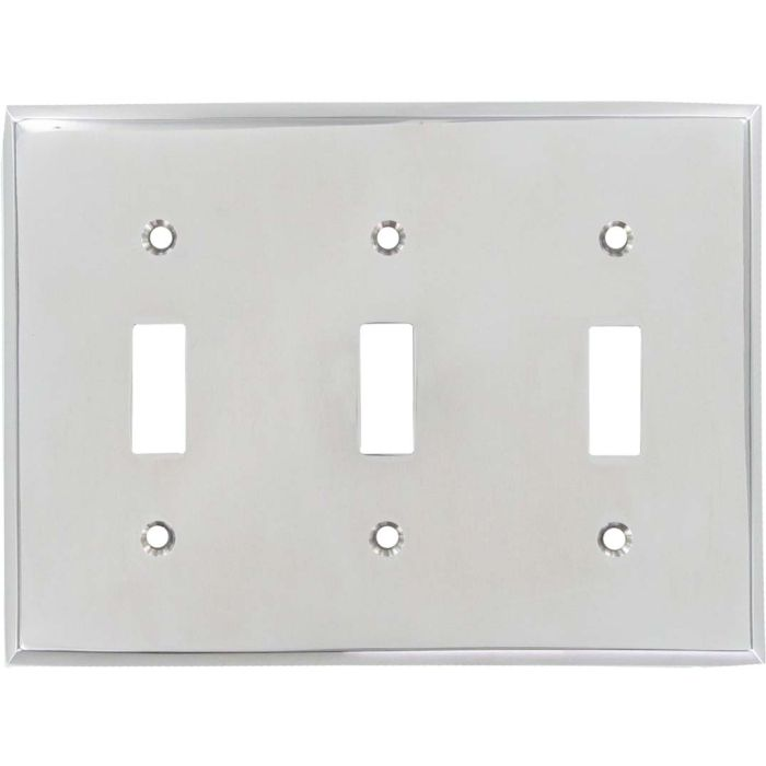 Polished Nickel Triple 3 Toggle Light Switch Covers