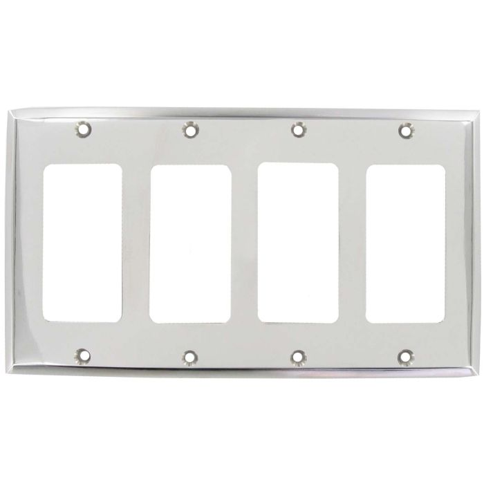 Polished Nickel 4 Rocker GFCI Decorator Switch Plates