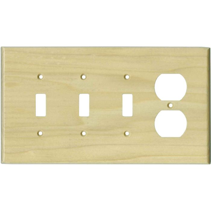 Poplar Satin Lacquer3-Toggle / 1-Duplex - Combination Wall Plates
