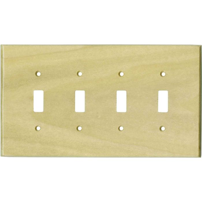 Poplar Satin Lacquer Quad 4 Toggle Light Switch Covers