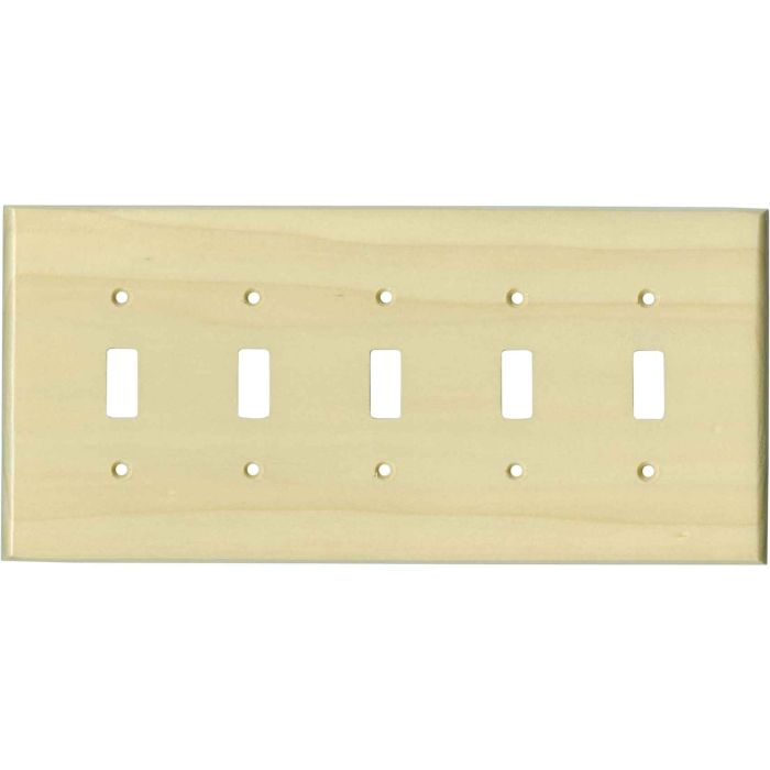 Poplar Satin Lacquer - 5 Toggle Wall Switch Plates
