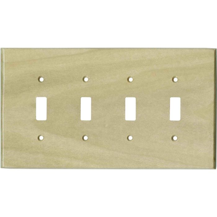 Poplar Unfinished - 4 Toggle Light Switch Covers